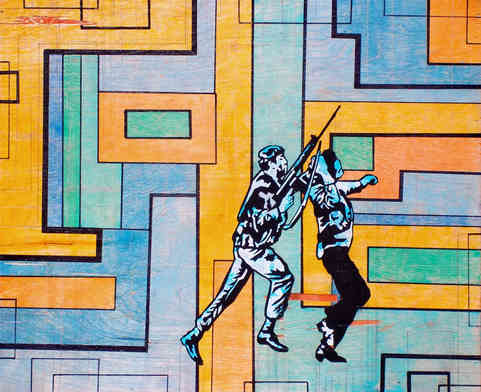 """* Select past work     PARAMETROS DE SEGURIDAD  acrylic and ink on wood approx 9"""" x 12"""""""
