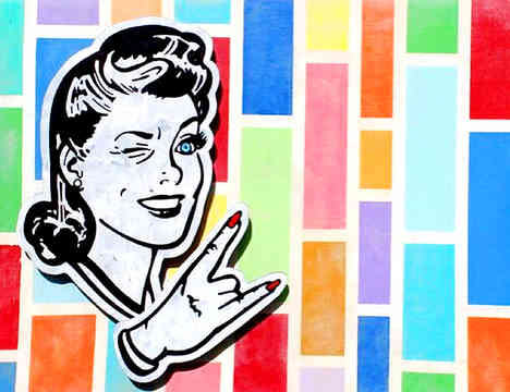 * Select past work     MARGARET IS METAL  acrylic, ink, mounted hardboard cut-out on wood 3' x 4'