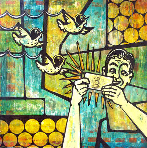 """* Select past work     THE POWER OF PERSISTENCE  acrylic and ink on wood 24"""" x 24"""""""