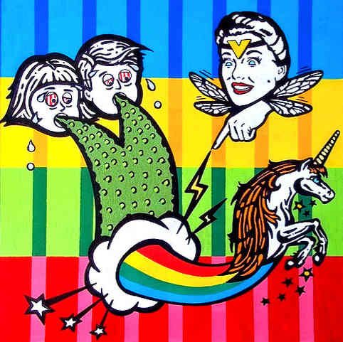 """* Select past work     VOMIT FAIRY  acrylic and ink on wood 24"""" x 24""""  featured in the kids """"gross out"""" book """"The Other Fairies"""""""