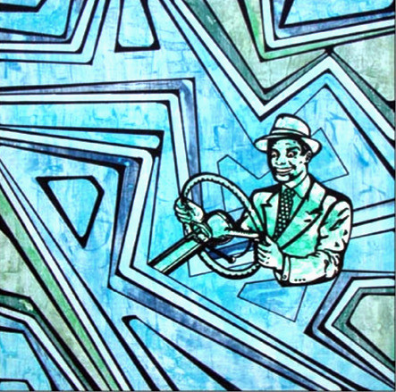 """* Select past work     I'M A DRIVER, I'M A WINNER  acrylic and ink on wood 24"""" x 24"""""""