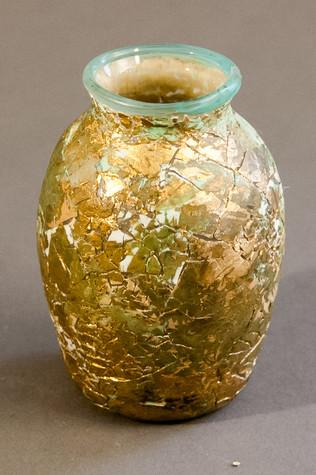 "Glass, eggshell, metal leaf. 3.25"" x 2.5"" x 2.5"""