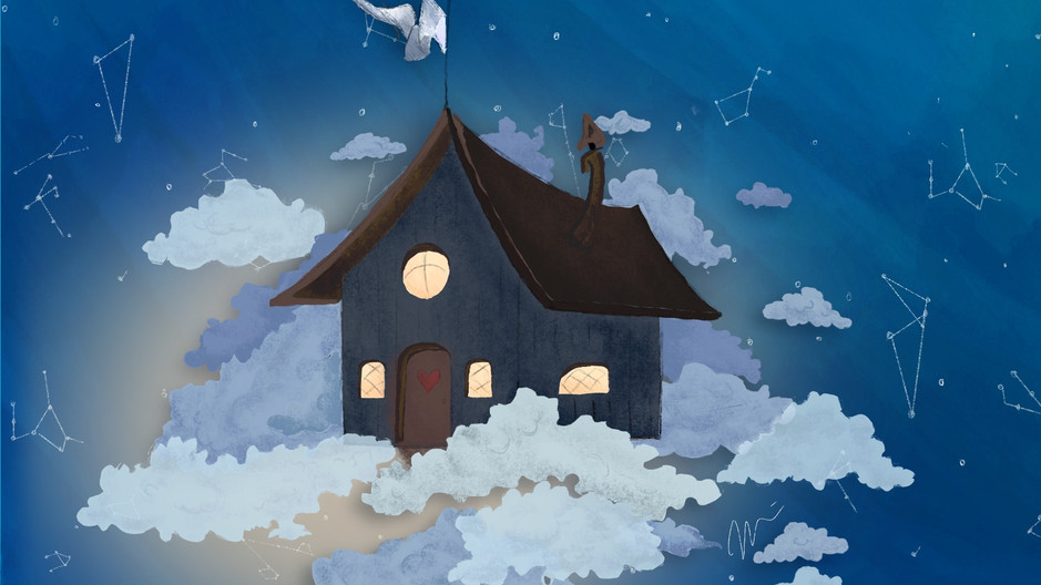 PARALLAX ANIMATION | BLUE HOUSE IN CLOUDS