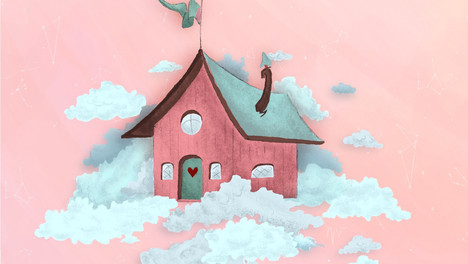 PARALLAX ANIMATION | PINK HOUSE IN CLOUDS
