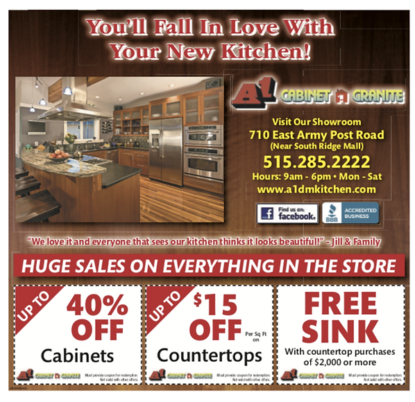 Coupons A1 Cabinet and Granite-Des Moines