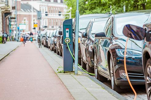 EV Car or Electric car at charging stati