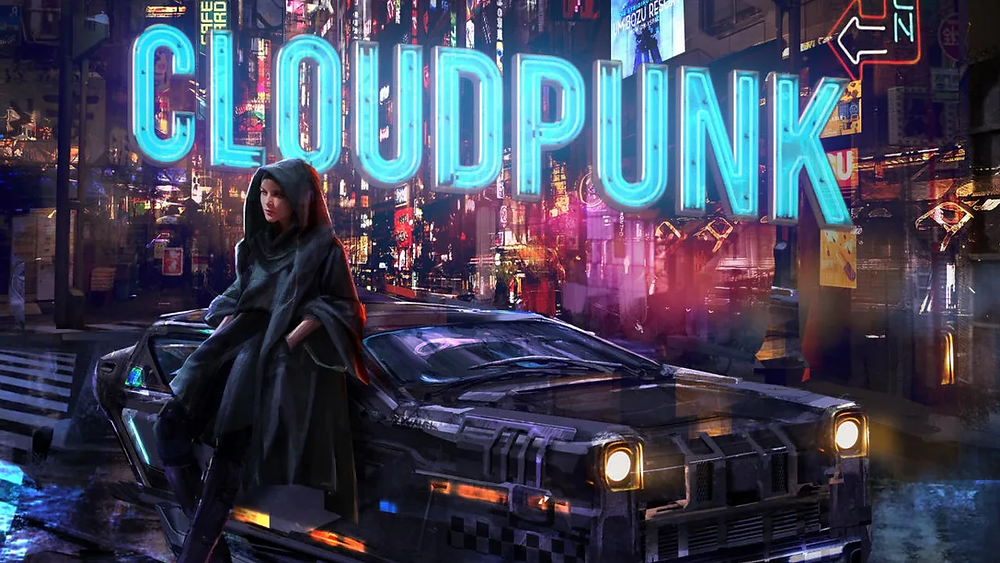 A Cyberpunk game cover, cloudpunk