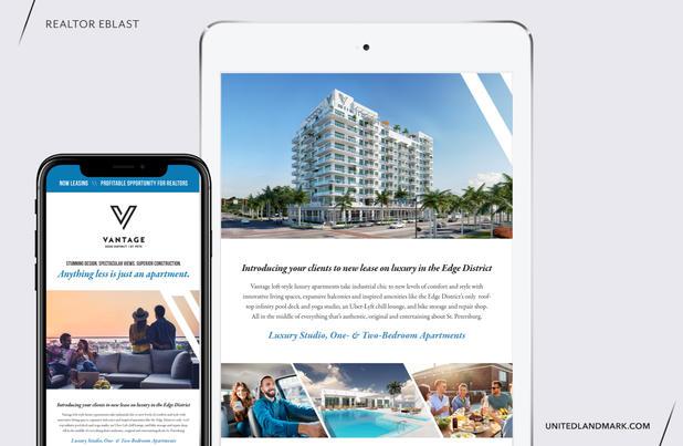 Graphic Designer at United Landmark Associates Client: Vantage St. Pete Luxary Apartments