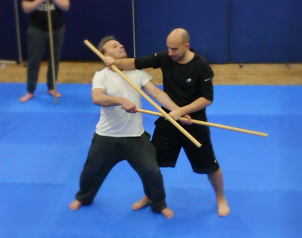 Sparring with weapons and disarms. HEMA Longsword, staff and sabre