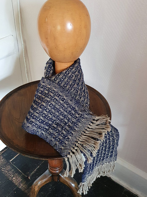 "Wonky Weaver™ Originals -  All Gender ""Enchanted"" Scarf Khaki & New Navy"