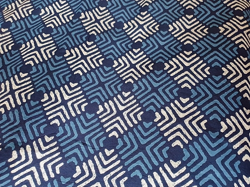 Geometric Indigo - natural cotton fabric - price/metre