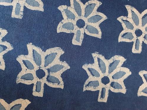 Indigo Flowers - natural cotton fabric - price/metre