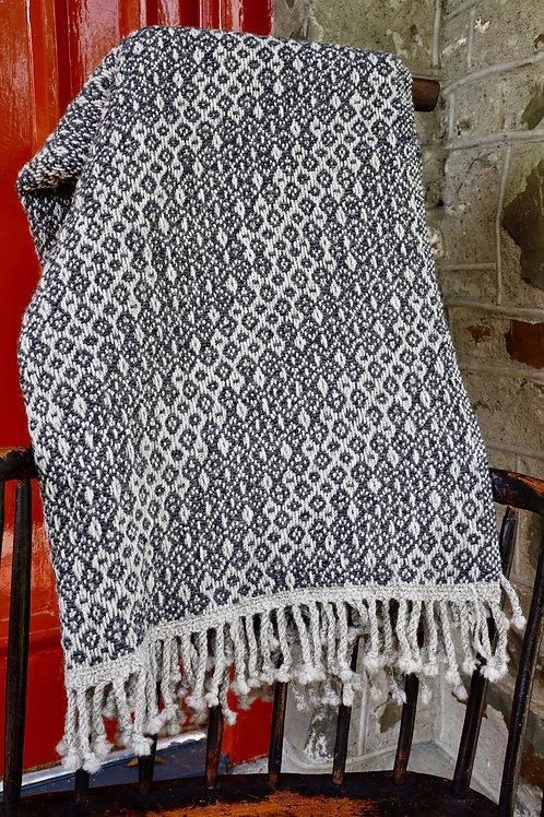 Handwoven Shetland & Lambswool Blanket - Charcoal