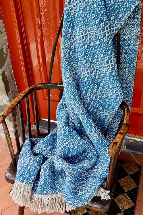 Handwoven Shetland & Lambswool Blanket - Cerulean Blue