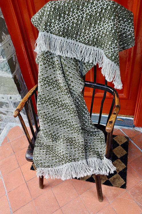Handwoven Shetland & Lambswool Blanket - Loden