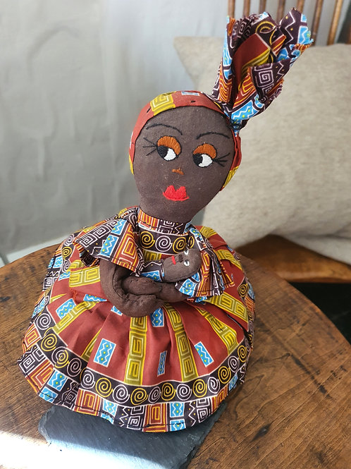Tanzanian handmade textile doll - orange mixed