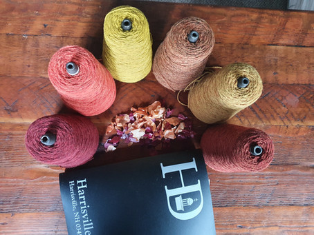 Autumn colours from Harrisville Designs wool Yarn cones.