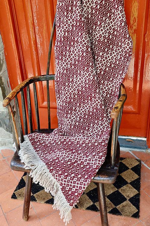 Handwoven Shetland & Lambswool Blanket - Wine Red