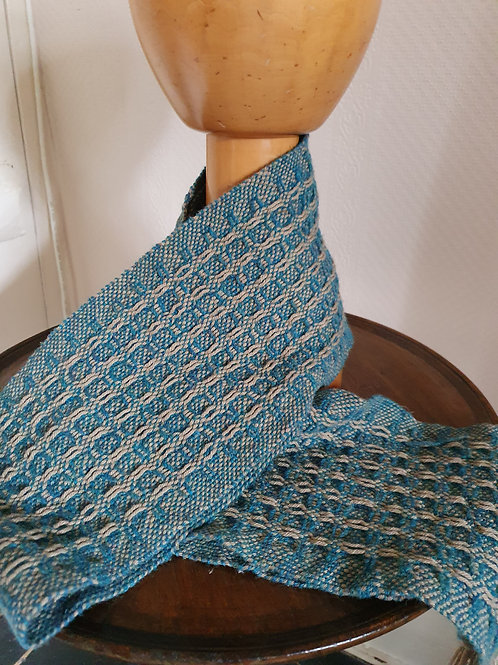"Wonky Weaver™ Originals -  All Gender ""Enchanted"" Scarf Khaki & Azure"