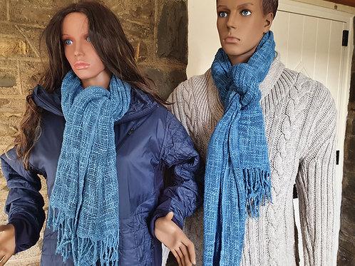 Natural Indigo Dyed Handwoven Organic Slub Cotton Scarf