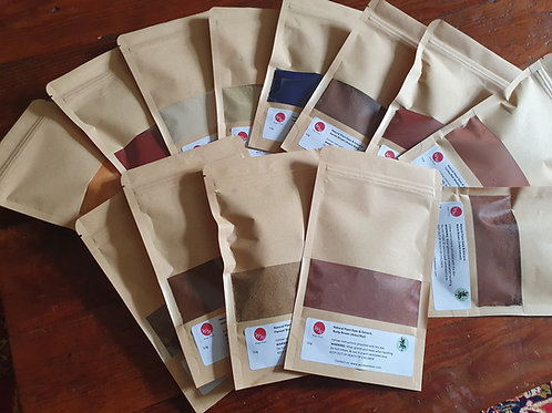 Large kit of 15 Natural Botanical Dyes & mordants