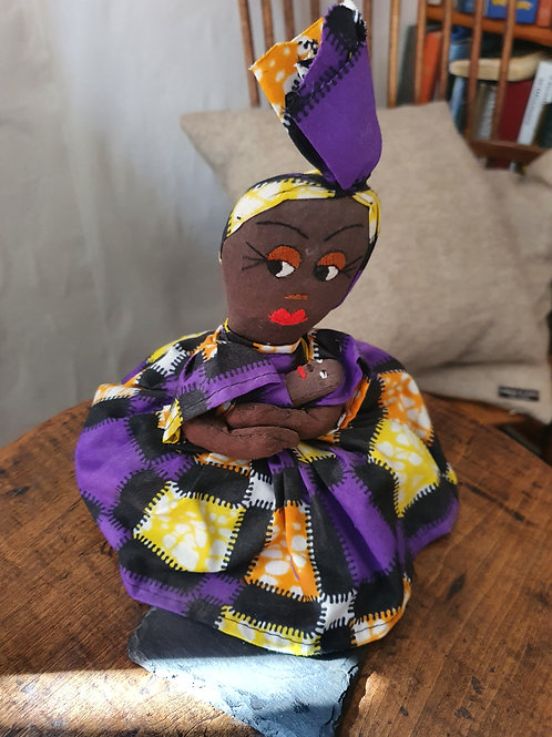 Tanzanian handmade textile doll - purple mixed