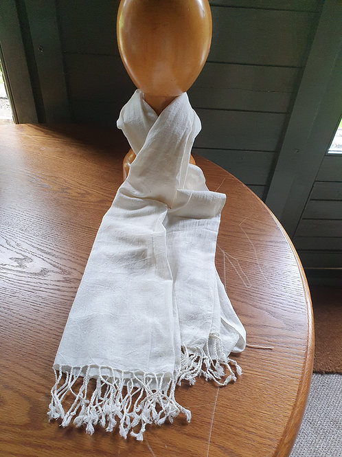 Handwoven Organic Kala Cotton Scarf - ideal for dyeing