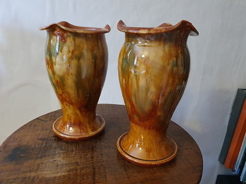 A pair of Welsh Ewenny Pottery Mottled Glaze Vases
