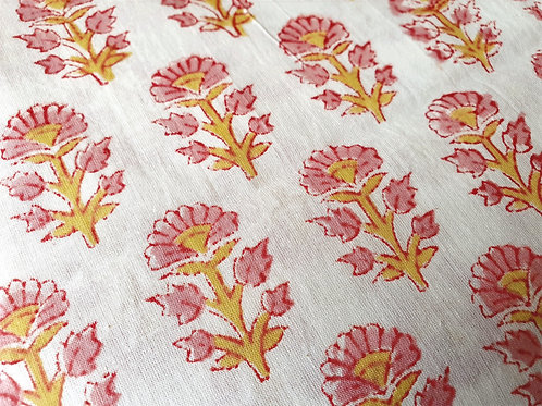 Pink Flowers - natural cotton fabric - price/metre