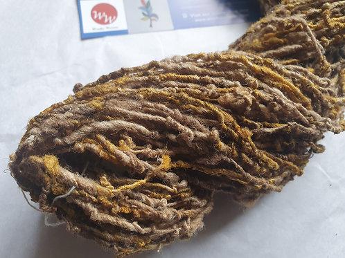 Tussar Silk Blended with Orange Noil Yarn - 100g