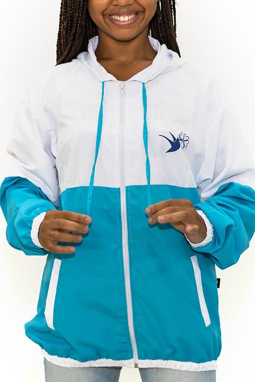 Jaqueta Corta Vento Azul Celeste e Branco