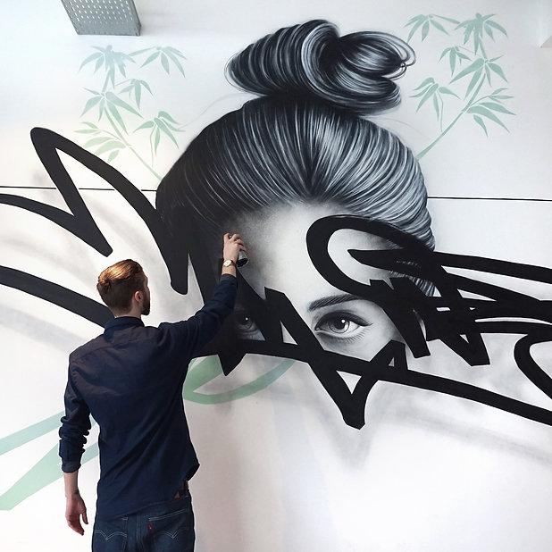 NOIR artist - Mural painting - Acrylic a