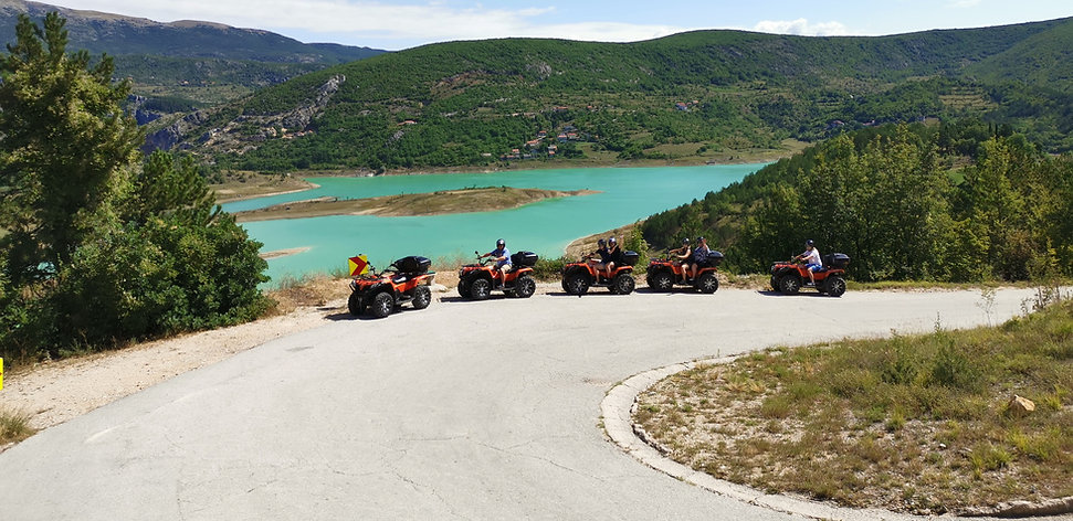 Green lake Ričice is our second destination on RED AND BLUE Quad adventure in Imotski