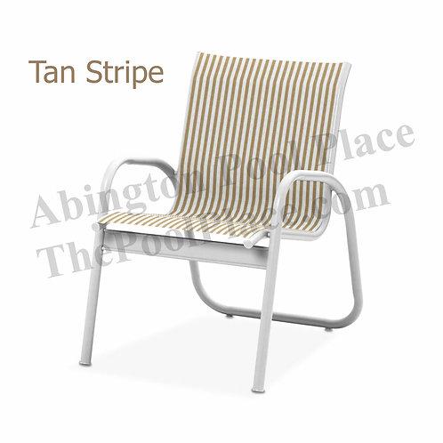 Gardenella Gloss White Frame Tan Stripe Sling