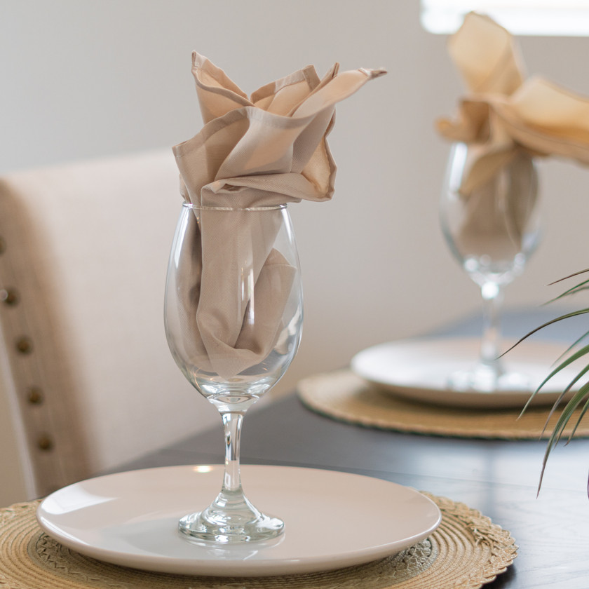 Glass cup with a napkin inside