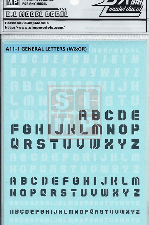 A11-1 General Design Water Decal Letters