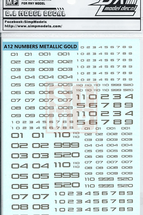 A12 Numbers Metallic Gold