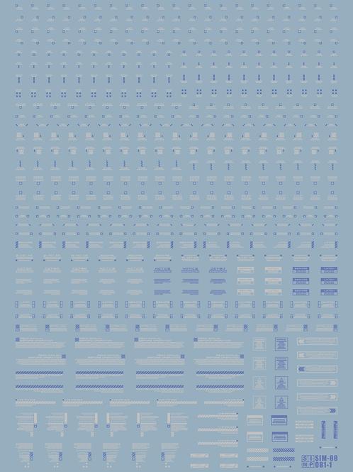 O01-1 UV REACT DECAL Blue and White