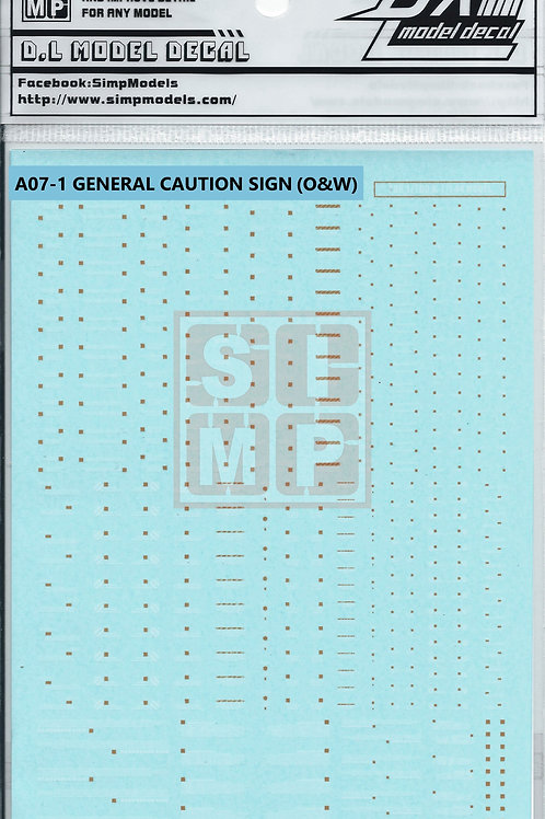 A07-1 General Design Warning Decal (1/144 and 1/100)