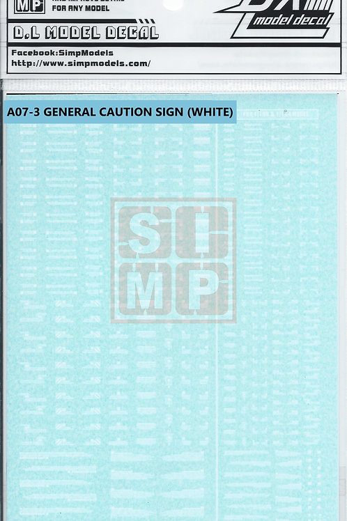 A07-3 General Design Warning Decal (1/144 and 1/100)