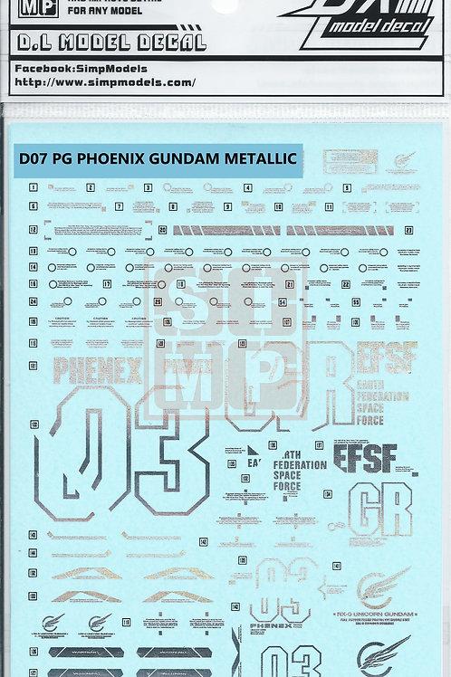 D07 (2PCS) PG 1/60 Unicorn Gundam Phoenix Metallic Silver