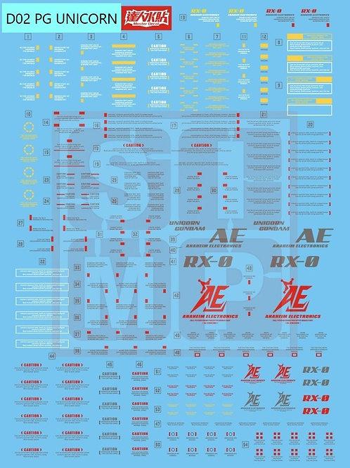 D02 (2PCS) PG 1/60 Unicorn Gundam