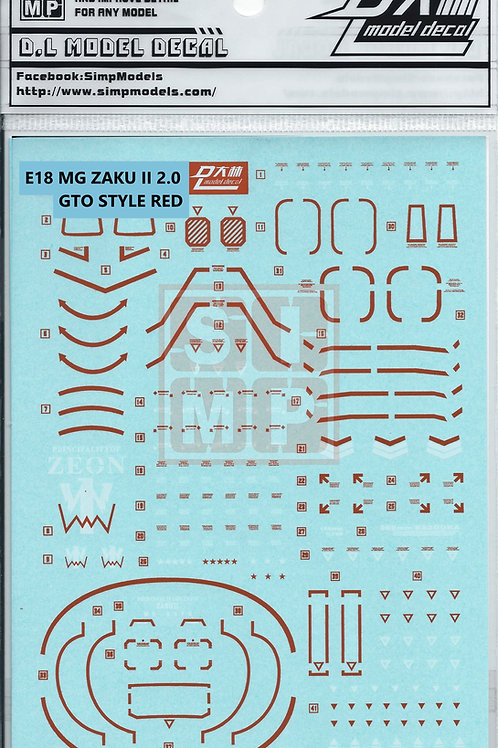 E18 MG 1/100 Zaku II 2.0 (GTO Style Red)