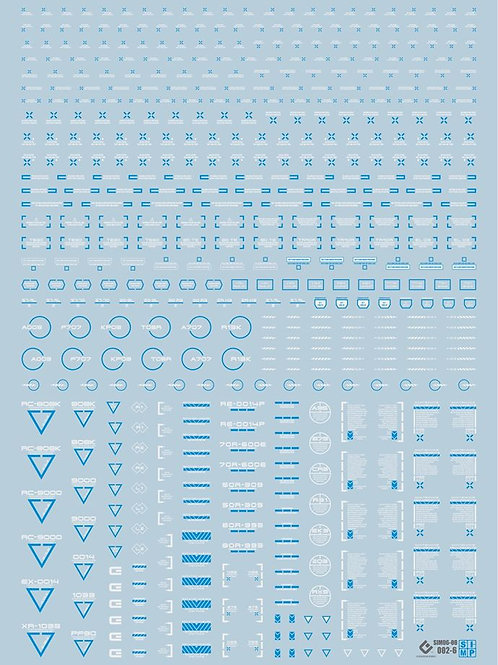 O03-5 UV REACT DECAL Blue, White and Gray
