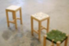 set of stools, jesmonite, felt, webbing, Florence Dwyer