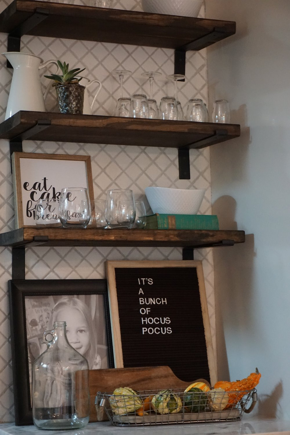 Before and After: Kitchen Floating Shelving