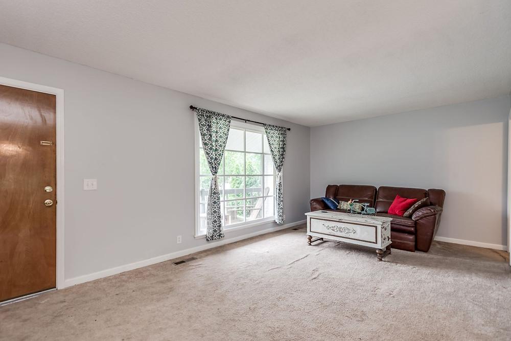 Living room, new carpet installed 7/11