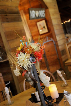 Weddig decorations inside the Double K Rustic Ranch barn