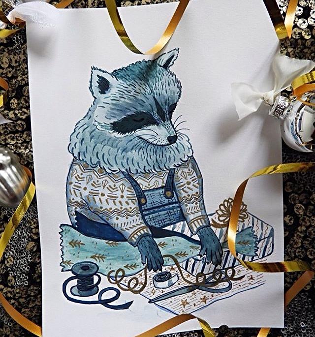 Gift Wrapping Raccoon