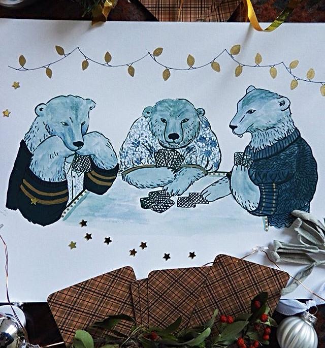 Card Players Polar Bears